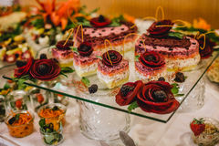 Catering food wedding buffet. Catering and food for wedding and events stock images