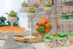 Catering food. At a wedding party,indoor wedding scene Royalty Free Stock Photography