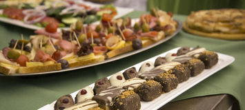 Catering food for weddings or other events. Picture of a well decorated catering food for weddings or other events,sweets.bonbonsn Royalty Free Stock Image