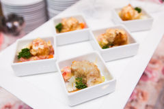 Catering food in white plate Royalty Free Stock Photos