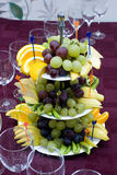 Catering - fruits allsorts. Catering - tasty fruits allsorts and glasses Royalty Free Stock Photo