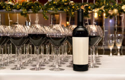 Catering. Glasses and bottle with red wine. Stock Photo