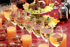 Catering - glasses with drinks. Catering - glasses with alcohol drinks and juices Royalty Free Stock Image