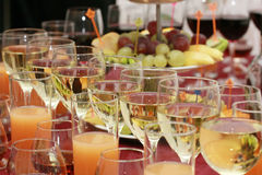 Catering - glasses with drinks. Catering - glasses with alcohol drinks and juices Stock Images