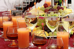 Catering - glasses with drinks. Catering - glasses with alcohol drinks and juices Stock Photo