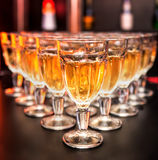 Catering. Glasses with white wine. Royalty Free Stock Image