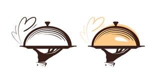 Catering, glazen kapembleem Pictogram voor het restaurant of de koffie van het ontwerpmenu Vector illustratie Stock Foto's