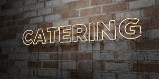 CATERING - Glowing Neon Sign on stonework wall - 3D rendered royalty free stock illustration Stock Images