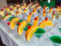 Catering - green alcohol cocktails Stock Image