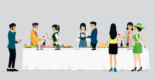 Catering hotels. Men and women are celebrating a banquet with a gray background Royalty Free Stock Image