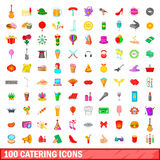 100 catering icons set, cartoon style. 100 catering icons set in cartoon style for any design vector illustration Royalty Free Stock Photos