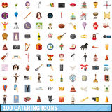 100 catering icons set, cartoon style. 100 catering icons set in cartoon style for any design vector illustration Royalty Free Stock Image