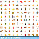 100 catering icons set, cartoon style. 100 catering icons set in cartoon style for any design vector illustration Stock Illustration