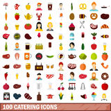 100 catering icons set, flat style Stock Photo