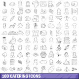 100 catering icons set, outline style Stock Photo