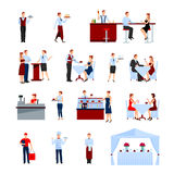 Catering Icons Set. Catering in the restaurant icons set with tables and waiters flat isolated vector illustration stock illustration