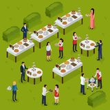 Catering Isometric Composition. Banquet at outdoor, feast tables, staff on green background vector illustration royalty free illustration