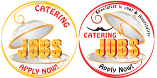 Catering Jobs - set of labels. Royalty Free Stock Images