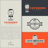 Catering logo. Set of fun catering logo design templates. Vector illustration royalty free illustration
