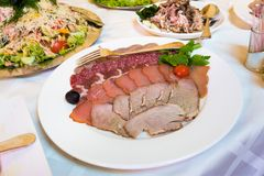 Catering - meat assortment plate Stock Photography