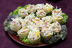 Catering - mix from shrimp with vegetables. And mayonnaise appetizer in canape Royalty Free Stock Photography