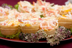Catering - mix from shrimp with vegetables appetiz. Catering - mix from shrimp with vegetables and mayonnaise appetizer in canape Stock Image