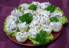 Catering - mushroom salad mix appetizer. Catering - mushroom salad mix canape appetizer Stock Photos