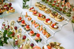 Catering. Off-site food. Buffet table with various canapes, sandwiches, hamburgers and snacks royalty free stock photos