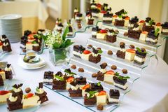 Catering. Off-site food. Buffet table with various sweet chocolate canapes, sandwiches and snacks with curd, strawberries, cheese royalty free stock photography