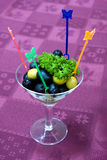 Catering - olives appetizer. Catering close-up - olives appetizer in glass Royalty Free Stock Photography