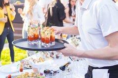 Catering is outside on event. Outside of the food and drink catering for guests of the event Royalty Free Stock Image
