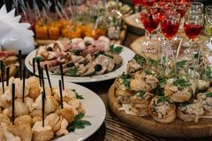 Catering for party. Close up of appetizers. On the table stock images