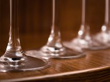 Catering, party concept: close-up image of wine glasses on a dark wooden background. Selective focus Stock Photography