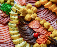 Catering platter with different meat and cheese products Stock Image