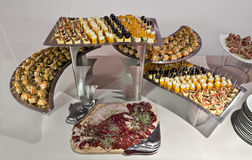 Catering platters. Of small bites stock photos
