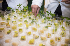 Catering. The preparation of drinks for a party Royalty Free Stock Photo