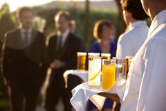 Catering. Professional catering service serving drinks to guests Royalty Free Stock Photos