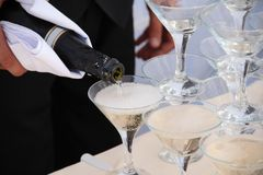 Catering - pyramid of champagne glasses Royalty Free Stock Image