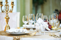 Catering restaurant event service. set table at party Stock Photo