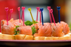 Catering - salmon appetizer Stock Photos