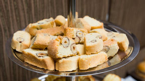 Catering - served plate with biscotti almond biscuits Royalty Free Stock Photos