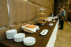 Catering - served table with rolls Stock Image