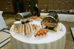 Catering - served table with various snacks Stock Image