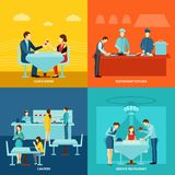 Catering service 4 flat icons square Stock Photos