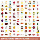 100 catering service icons set, flat style. 100 catering service icons set in flat style for any design vector illustration Stock Image