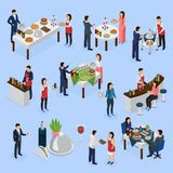 Catering Banquet Isometric Icons. Catering service isometric elements collection with corporate meeting banquets anniversaries wedding buffet bar guests waiters Stock Photo
