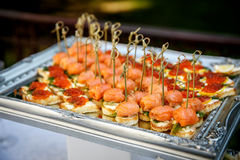 Catering service. Restaurant table with food at event. Catering service. Restaurant table with food at event party Stock Photography