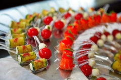 Catering service. Restaurant table with food at event. Shallow depth of view Royalty Free Stock Photography