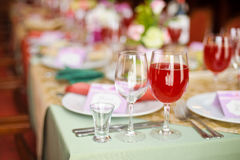 Catering service. Restaurant table with food. Huge amount of on the . Plates . Dinner time. Royalty Free Stock Photography