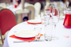 Catering service. Restaurant table with food. Huge amount of on the . Plates . Dinner time. Stock Image